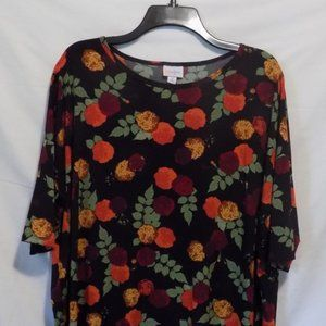 LulaRoe black gold orange green womens med tunic M